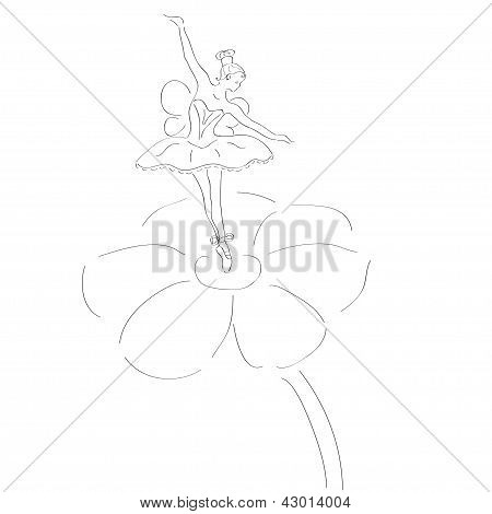 illustration of a cute ballerina with wings