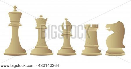 Chess Pieces Rook, Knight, Bishop, Queen, King Vector Illustration With Gradient. American Chess Day