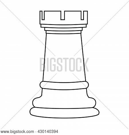 Rook Chess Piece Outline Vector Illustration. American Chess Day Concept.