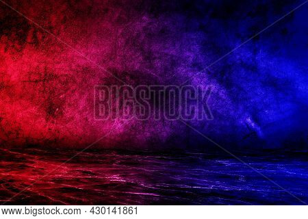 Empty Space Of Studio Dark Room With Lighting Effect Red And Blue On Concrete Floor Grunge Texture B