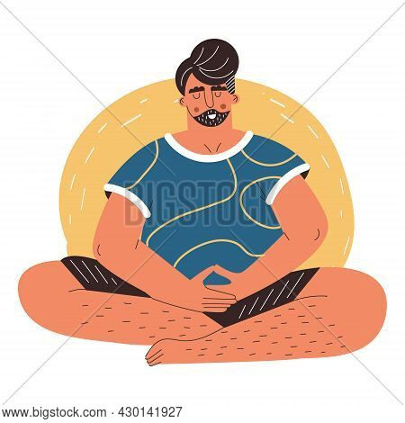 Man Practicing Yoga And Breath Control. Young Guy Practicing Meditation, Breathing Exercises, Relaxi