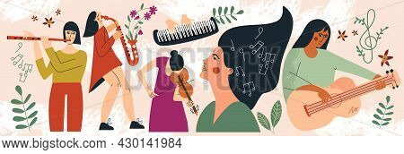 Musicians Women Playing Musical Instruments Web Banner. Clipart Of Girls Performer With Music Instru