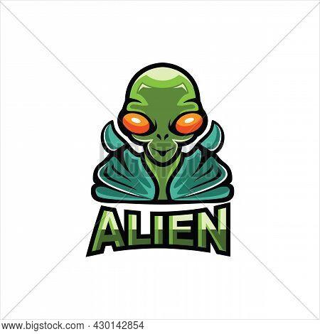 Alien Mascot Esport Logo Design, Game Player Alien E-sport Logo Design. Alien Holding Analog Game Co