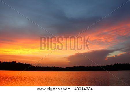 Wisconsin Sunset Over Lake