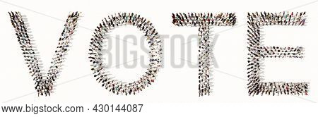 Concept  or conceptual large community of people forming  VOTE word. 3d illustration metaphor for voting, duty, right, patriotism, election, citizen's choice, democracy, national or local