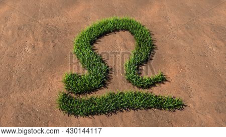 Concept conceptual green summer lawn grass symbol shape on brown soil or earth background, sign of libra zodiac sign. 3d illustration symbol for esoteric, mystic, the power of prediction of astrology
