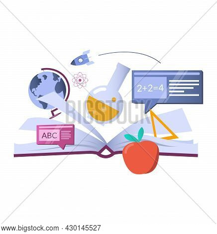 Open Book With School And Science Symbols, Vector Illustration. Knowledge. School And Education.
