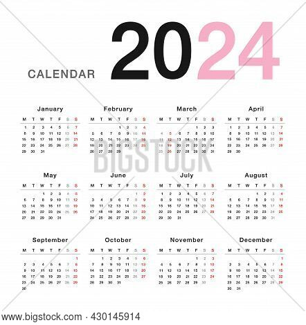 Colorful Year 2024 Calendar Horizontal Vector Design Template, Simple And Clean Design. Calendar For