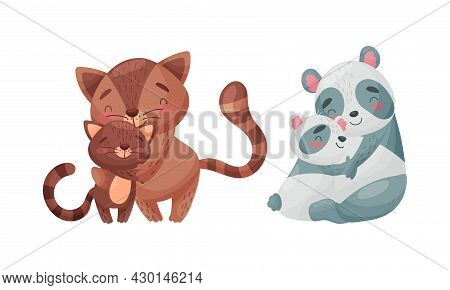 Mother And Baby Animals Set. Wildcat And Raccoon Moms Hugging Their Kids Cartoon Vector Illustration
