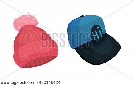 Set Of Headgears, Knitted Hat And Baseball Cap Headwear Cartoon Vector Illustration