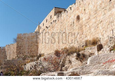 Mauer Jerusalems Altstadt nahe dem Mist-Tor