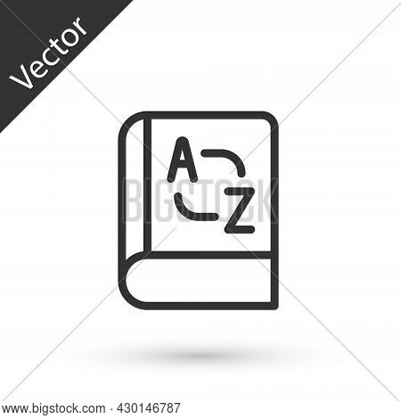 Grey Line Translator Book Icon Isolated On White Background. Foreign Language Conversation Icons In