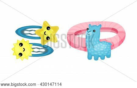 Set Of Childish Hair Accessories. Cute Hairpins And Scrunchy Cartoon Vector Illustration