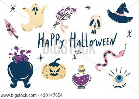 Halloween Set. Hand Draw Isolated Halloween Elements. Pumpkin, Ghost, Cauldron, Potions, Hat And Mag