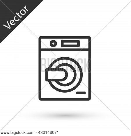 Grey Line Washer Icon Isolated On White Background. Washing Machine Icon. Clothes Washer - Laundry M