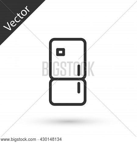 Grey Line Refrigerator Icon Isolated On White Background. Fridge Freezer Refrigerator. Household Tec
