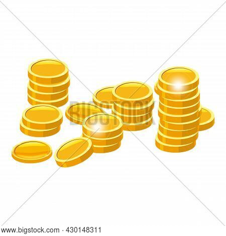 Gold Coins Stack. Piles Of Golden Money Icon Stacked In Stacks, Financial Currencies Stocks. Vector