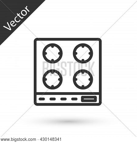 Grey Line Gas Stove Icon Isolated On White Background. Cooktop Sign. Hob With Four Circle Burners. V