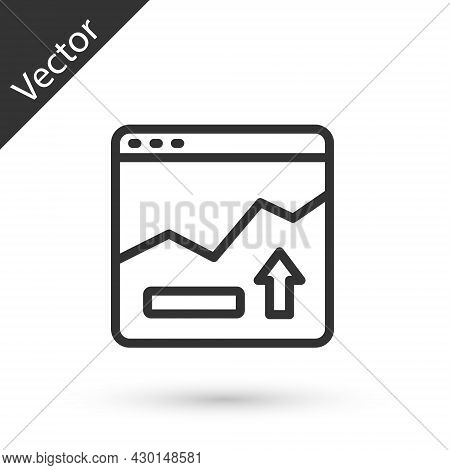 Grey Line Financial Growth Increase Icon Isolated On White Background. Increasing Revenue. Vector