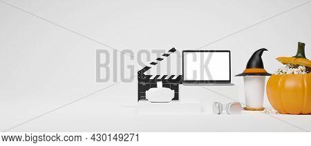 Vr Goggles, Headphone, Laptop Mockup On Podium, Popcorn Bucket, Witch Hat, Movie Clapper, White Back