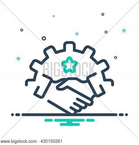 Mix Icon For Partnership Fellowship Alliance League Cooperation Association Handshake Business
