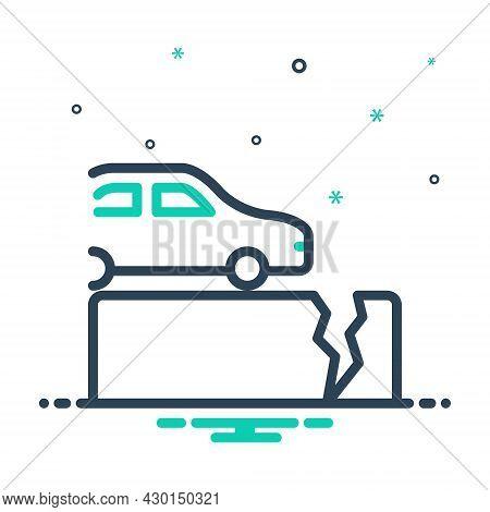 Mix Icon For Fault Defect Glitch Lapse Crash Crack Rift Broken Fall Damage Disaster Gap Car