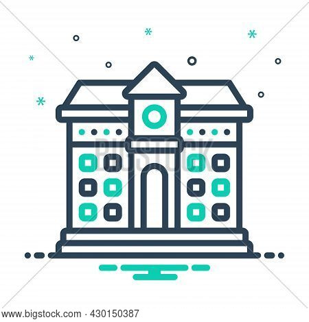 Mix Icon For School Seminary Building Primary University Academy Educational Institution Institute G