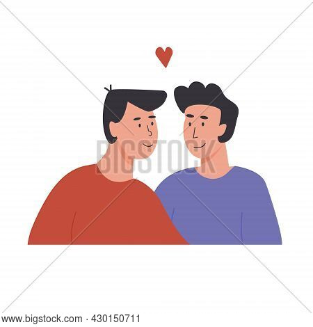 Cute Gay Couple. Portrait Of Adorable Young Men Flirting With Each Other. Homosexual Romantic Partne