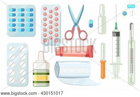 Medicines Set. Illustration With Pills, Spray, Bandage, Ointment, Syringe, Thermometer And Pipette.