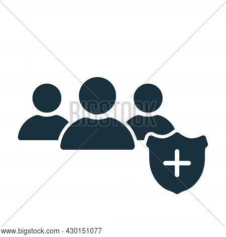 People Crowd With Medical Shield Silhouette Icon. Immune System Of Person. Medical Prevention For Pe