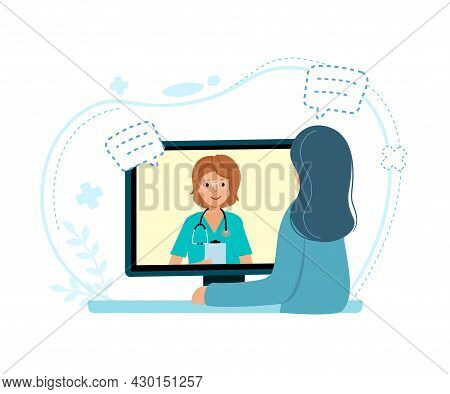 Online Children Doctor Medical Consultation Concept On White Background.