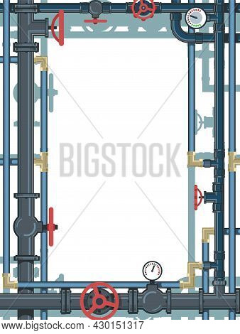 Complicated. Pipeline For Various Purposes. Frame With A Place For The Text About The Service. Illus
