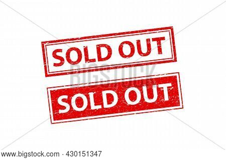 Sold Out Stamp Vector Isolated On White Background