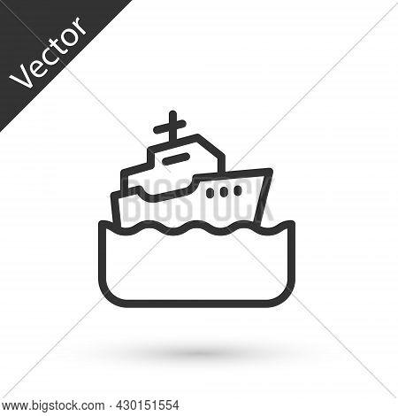 Grey Line Cruise Ship Icon Isolated On White Background. Travel Tourism Nautical Transport. Voyage P