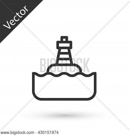 Grey Line Floating Buoy On The Sea Icon Isolated On White Background. Vector