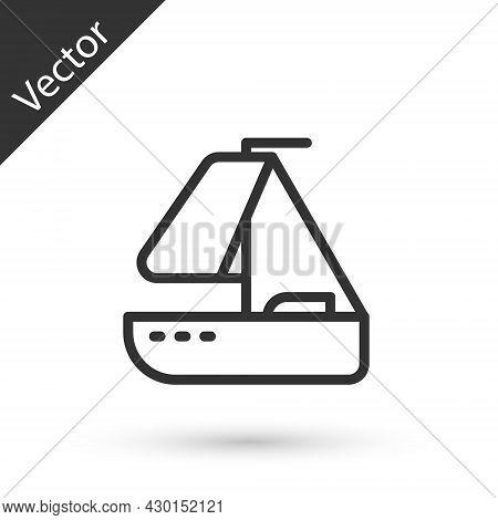 Grey Line Yacht Sailboat Or Sailing Ship Icon Isolated On White Background. Sail Boat Marine Cruise