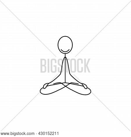 Cartoon Icon Of Sketch Stick Figure Sitting In Lotus Position And Meditating