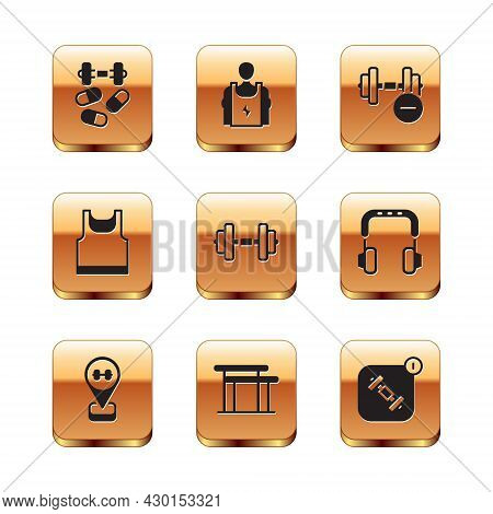 Set Sports Doping With Dumbbell, Location Gym, Uneven Bars, Dumbbell, Sleeveless T-shirt, Fitness Ap