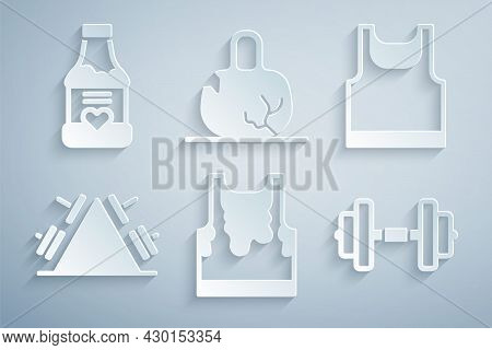Set Sweaty Sleeveless T-shirt, Sleeveless, Metal Rack With Weight, Dumbbell, Broken And Vitamins Ico