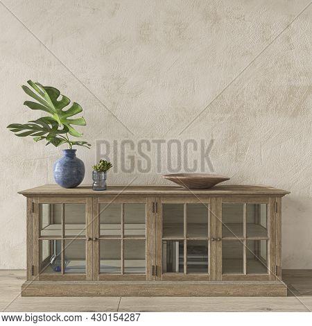 Coastal Design Room. Mockup Wall In Cozy Home Interior Background. Hampton Style 3d Render Illustrat