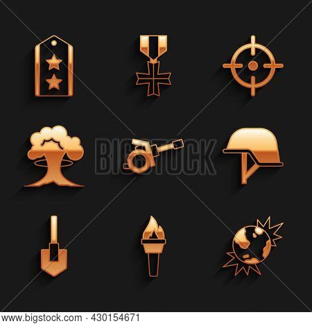 Set Howitzer, Torch Flame, Bomb Explosive Planet Earth, Military Helmet, Shovel, Nuclear Explosion,