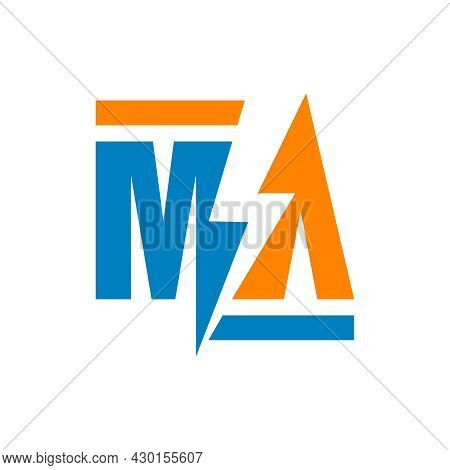 Electric Energy Illustration Logo Design With Letter Ma