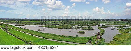 Aerial panorama from the windmills at Kinderdijk in the Netherlands