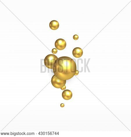 Gold Decorative Balls. Golden Realistic Balls With Highlights Hung In White Space. Gift Decoration.