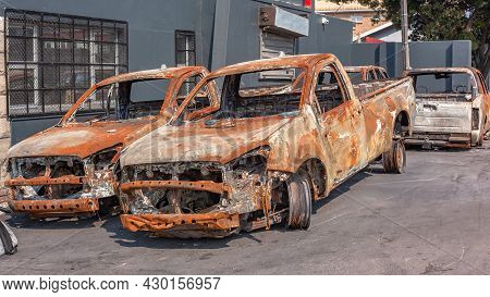 Four Fire Destroyed Burnt Car Vehicles Roadside From Riots And Arson