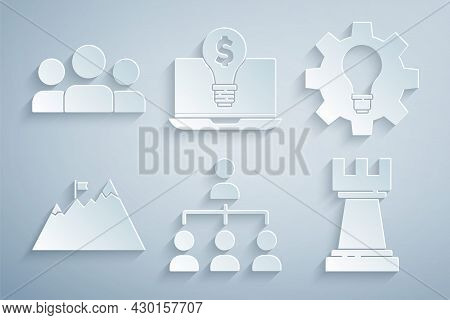 Set Hierarchy Organogram Chart, Light Bulb And Gear, Mountains With Flag, Chess, Dollar On Laptop An