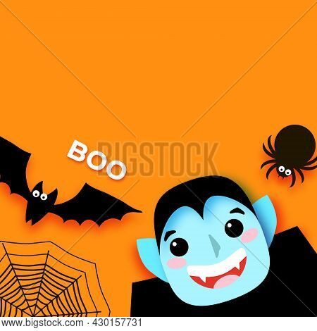 Happy Halloween. Monsters. Dracula - Funny Spooky Vampire. Trick Or Treat. Bat, Spider, Web. Space F