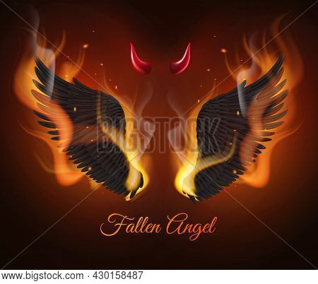 Realistic Burning Wings. Black Feathers Demon Wings, Red Devil Horns In Flame, Gothic Birds Flying P
