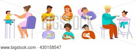 Dad Baby Feeding. Father And Mothers With Newborns, Cute Toddlers On High Chairs And Get Food, With