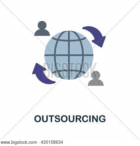 Outsourcing Flat Icon. Colored Sign From Customer Service Collection. Creative Outsourcing Icon Illu